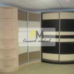 10. Вариант с двумя разными видами радиусных шкафов с кожей и пластиком с открытыми полукруглыми полками.