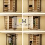 11. Практичное наполнение шкафов-купе с полукруглыми дверями и удобным в использовании расположением полок.