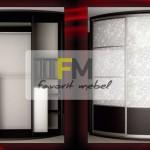 2. Радиусный шкаф-купе, пластик с романтичными цветами и практичное наполнение шкафа для длинных и коротких вещей.