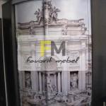 27. Радиусный шкаф-купе с фотопечатью на радиусных дверях в старинном стиле